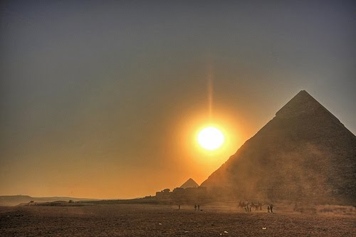 Dusty Sunset at the Pyramids