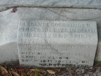 The stone at the foot of Clarence's grave.