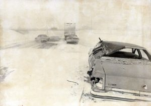 Abandoned cars during the Blizzard of '77